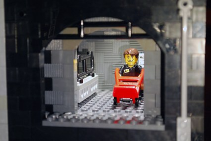 MOC LEGO Store employee ready for delivery.
