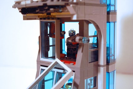 LEGO Avengers Tower window explosion feature.
