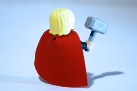 LEGO Thor rear view with cape.