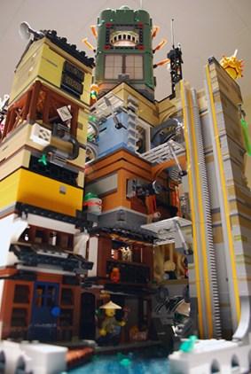 LEGO Ninjago City from behind.