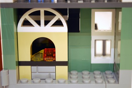 LEGO Park Street Townhouse (31065) basement fireplace.