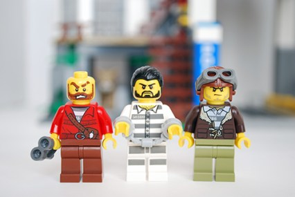 LEGO Mountain Police Headquarters - front view of criminals.