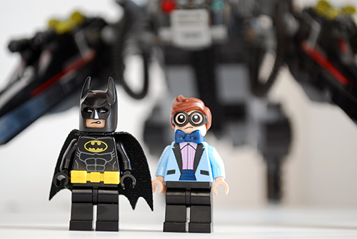 Front view of Batman and Dick Grayson from the LEGO Scuttler set.
