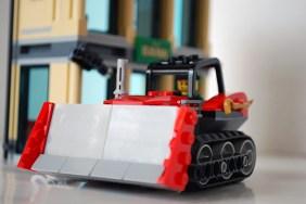 LEGO bulldozer front view.