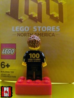 Rear view of commemorative LEGO Store employee Minifigure.