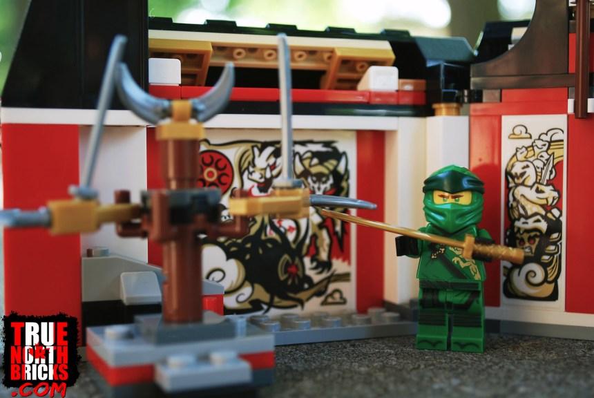Lloyd Minifigure with brick-build ninja training equipment.