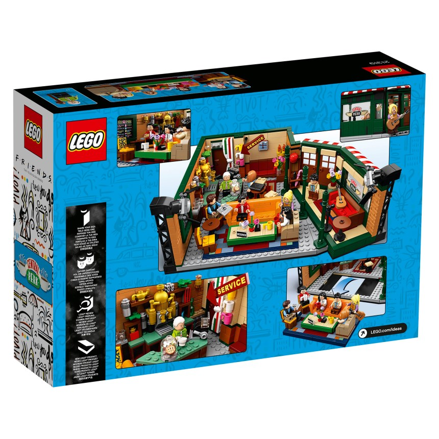 Rear box art for the Friends Central Perk LEGO set.