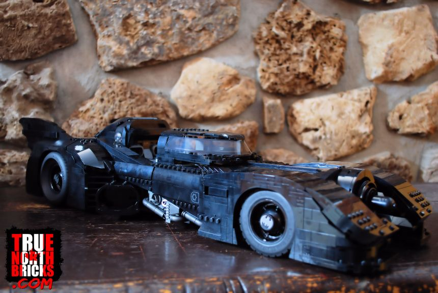 1989 Batmobile (76139) with roof hatch open.