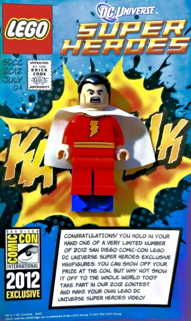 Upcoming promotions: win a San Diego Comic Con exclusive Shazam Minifigure from 2012.