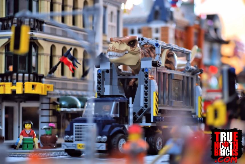 T. rex transport driving through my LEGO City.