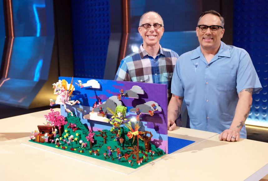 Richard and Flynn built a fairy-tale for their Movie Genre (LEGO® Masters) challenge (©2020 FOX MEDIA LLC. CR: Ray Mickshaw/FOX).