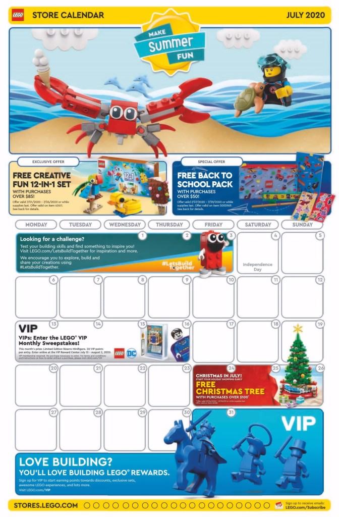 July 2020 LEGO Store Calendar