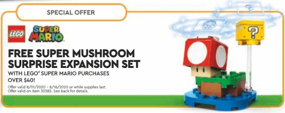 August 2020 LEGO promotion: super mushroom expansion pack.