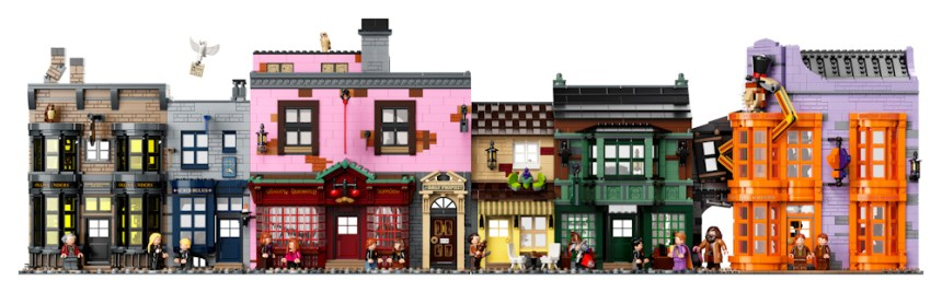 Front view of Diagon Alley (75978) coming soon.