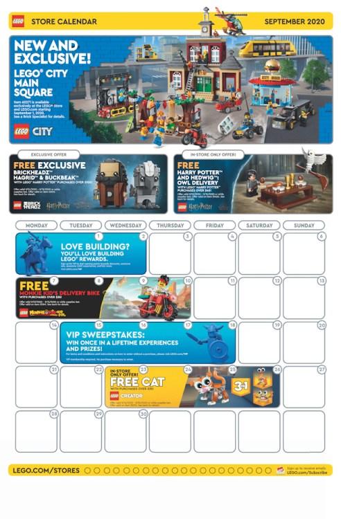 LEGO Store September 2020 calendar.