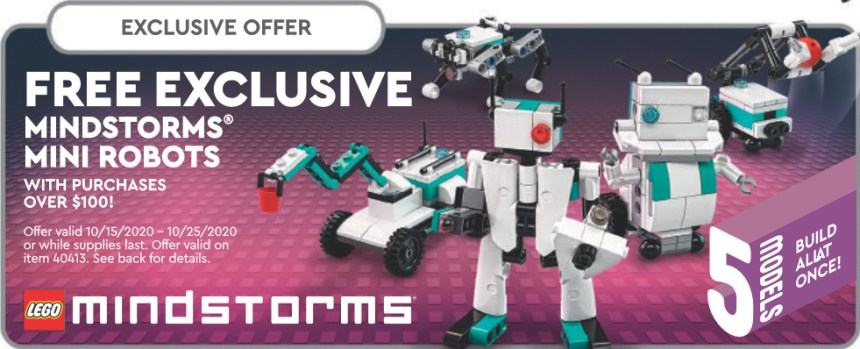 Mindstorms Mini Robots freebie advertised on the October 2020 calendar.
