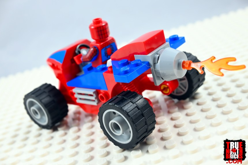 Rear view of Spider-Man's ATV