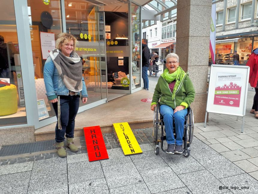 Ramped up builds by the LEGO Grandma adorn shop front throughout Hanau.