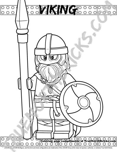Minifigure Monday: Viking coloring page sample.