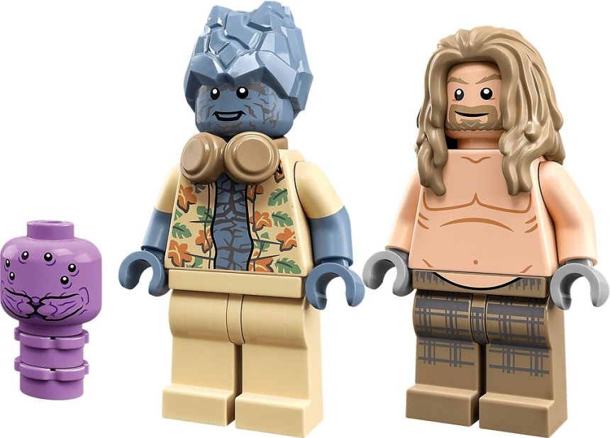 Bro Thor's New Asgard (76200) minifigures include a small built Miek, Korg with headphones and floral shirt and shirtless Bro Thor