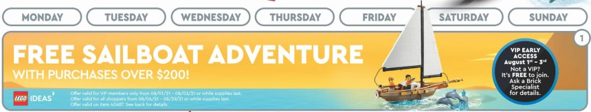 August 2021 Store Calendar sail boat GWP.