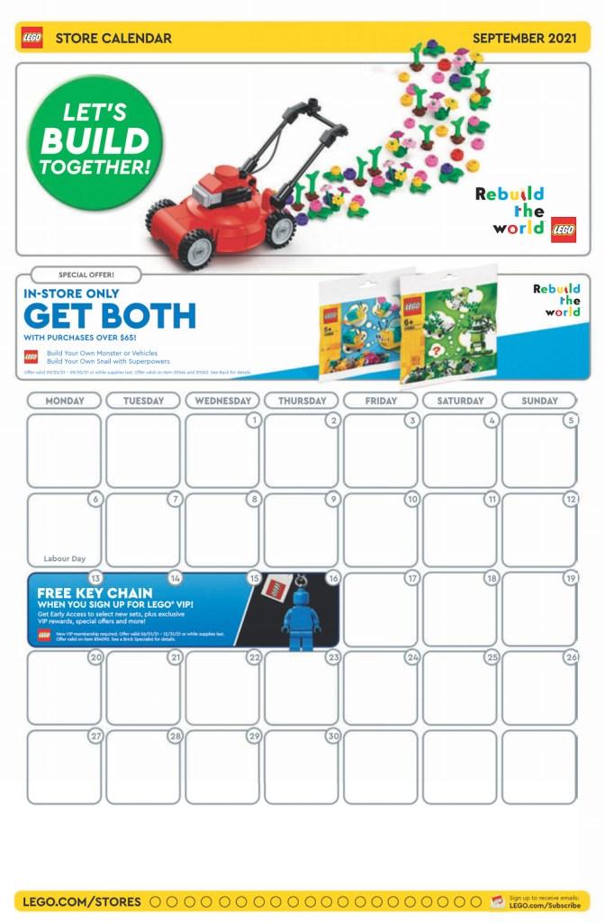 September 2021 Store Calendar