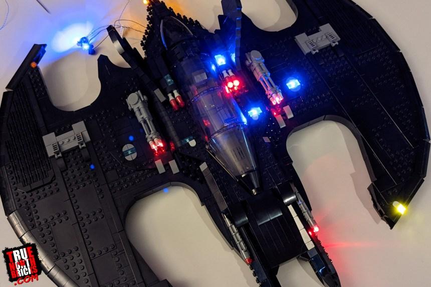 Bricksmax 1989 Batwing lighting kit half lit up.