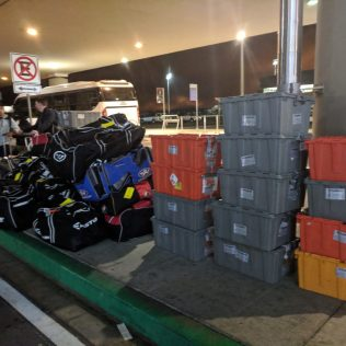 49 of 60 bags and totes arrived at Quito. Also missing was 8 personal bags.
