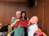 Pam and Dr. Manuel looking at the incredible sweaters knitted by Louisa Powell. Louisa has donated these sweaters and Dr. Manuel Avila arranges delivery to the needy. He organizes an annual christmas party at an orphanage.