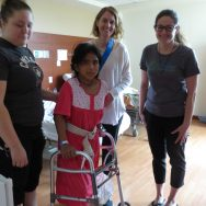 Maria...much recovered from the chest infection. and with the help of our amazing physio team is walking today!