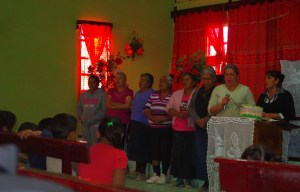 The ladies of the congregation sang a hymn in the service.
