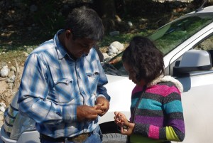 "Martin and daughter Genses examine a pretty rock. Las Joyas means ""the jewelry."""