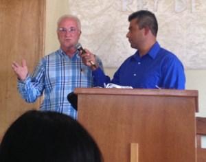 Steve Preaching while Martin translates.