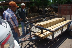 This trailer load of lumber cost about $700 Pecos (about $41 USD) plus we added about $100 Pecos in hardware once the beds were assembled.