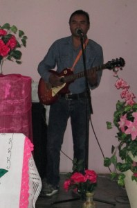Juan played the music for the service