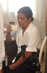 Edalia enjoyed a cup of coffee at the ministry house.