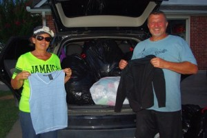 Kim and John Sursa gave some nice apparel to the folks in Mexico.