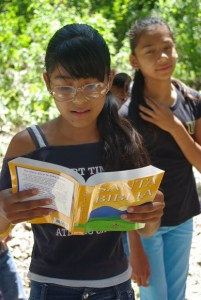 This thirteen year old could see to read after we gave her donated prescription glasses.