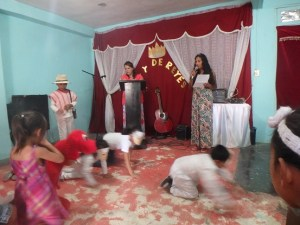 The children performed a skit in the new church last summer.
