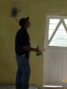Pastor Jose is always involved in the work at the building.