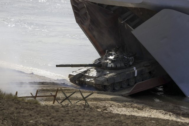 a-tank-debarks-a-ship-for-the-landing-operation