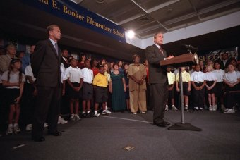 president-bush-delivers-remarks-to-the-nation-regarding-the-terrorist-attacks-on-us-soil-from-the-elementary-school
