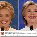 Could Hillary's smile cost her the election? Twitter mocks Clinton's 'creepy grandma' grin as she smirks her way through presidential debate