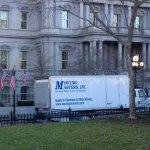 Moving truck spotted outside White House