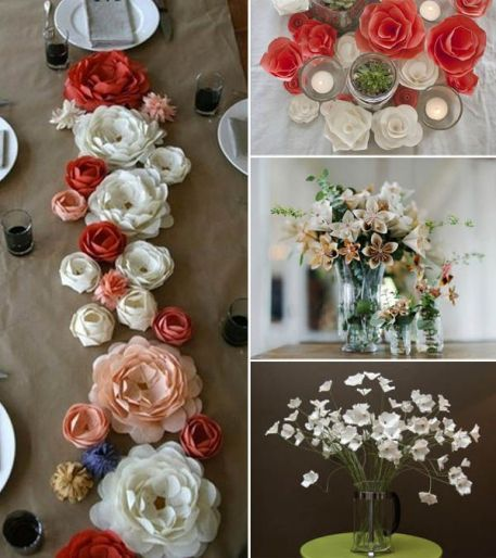 Paper flower table runner