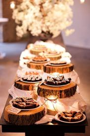 Woodland wedding cake stand dessert buffet
