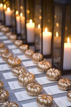 Pumpkin wedding escort cards