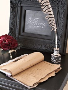 Halloween wedding calligraphy guestbook