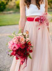 Pink and red Valentine's wedding dress