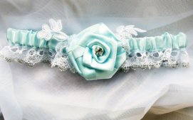 Blue Garter with rose and rhinestone etsy wedding accessories